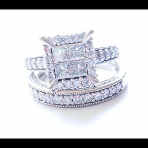 Bridal setSIZE 7 1.5k 14K white gold Princess cut